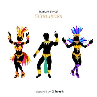 Coleção de dançarina de carnaval brasileiro de silhueta