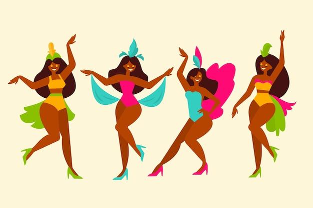 Coleção de dançarina de carnaval brasileiro ilustrada