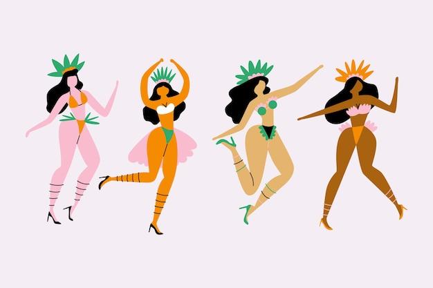 Coleção de dançarina de carnaval brasileiro