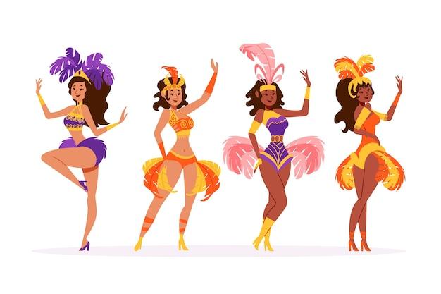 Coleção de dançarina de carnaval de mulheres brasileiras