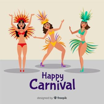 Coleção de dançarina de carnaval plana brasileira