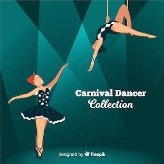 Coleção de dançarina de carnaval plana