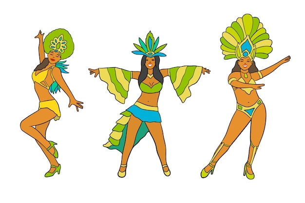 Coleção de dançarinas de carnaval de mulheres brasileiras