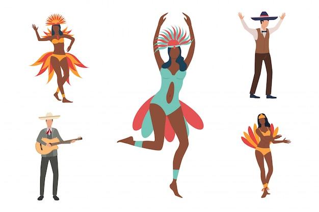 Coleção de dançarinos africanos e homens em sombreros