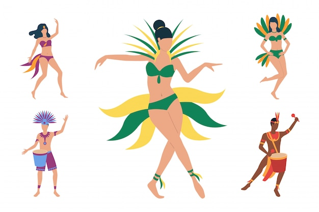Coleção de dançarinos brasileiros em trajes