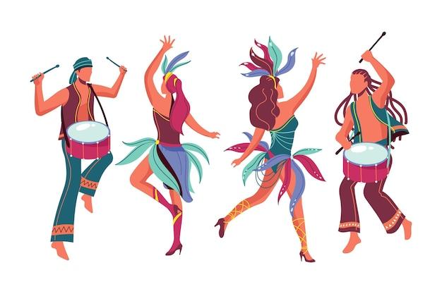 Coleção de dançarinos de carnaval brasileiro