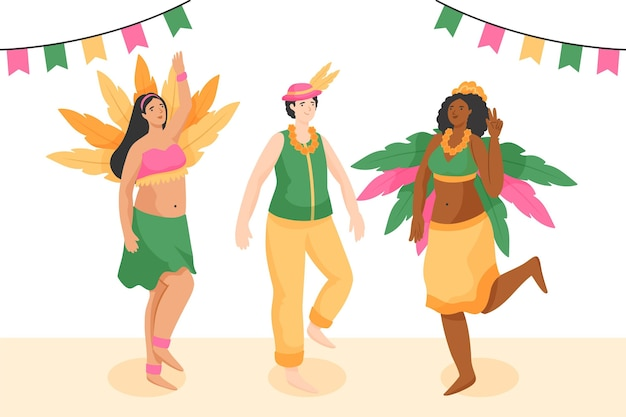 Coleção de dançarinos de carnaval brasileiros