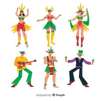 Coleção de dançarinos de carnaval colorido