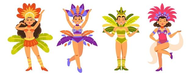 Coleção de dançarinos de carnaval com fantasias coloridas