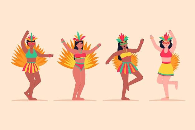 Coleção de dançarinos de carnaval