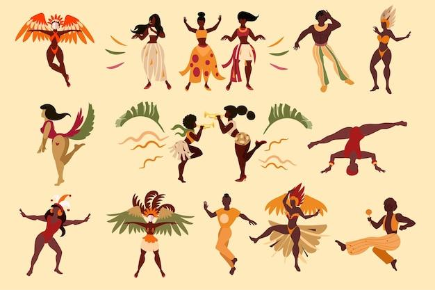 Coleção de dançarinos de celebração do carnaval brasileiro