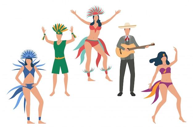 Coleção de dançarinos em trajes tradicionais