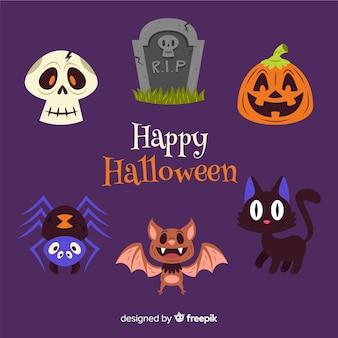 Coleção de decoração de halloween plana
