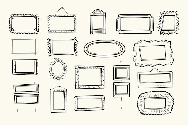 Coleção de decoração de moldura doodle