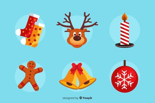 Coleção de decoração de natal de design plano