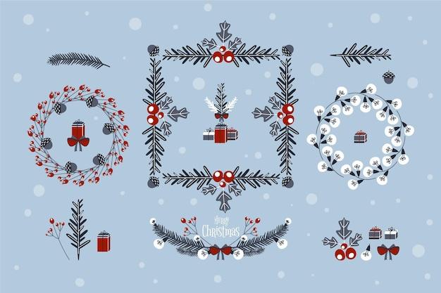 Coleção de decoração de natal desenhada à mão