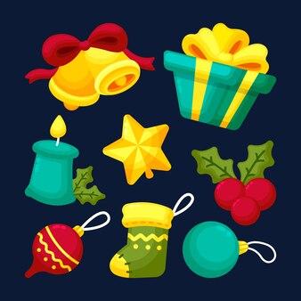 Coleção de decoração de natal plana