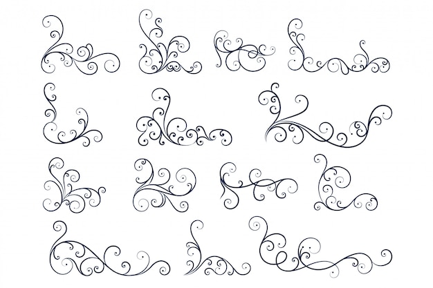 Coleção de decoração floral de mão desenhada linha