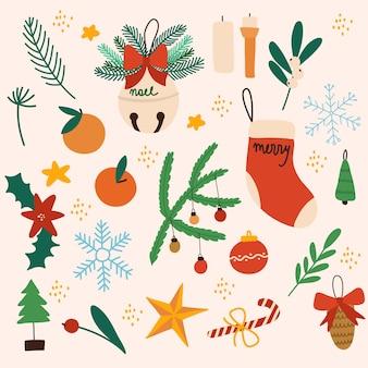 Coleção de decorações de natal coloridas de ilustração vetorial desenhada à mão