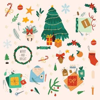 Coleção de decorações de natal, presentes de feriado, árvore de natal. ilustraã§ã £ o desenhada ã mã £ o vetorial colorida. todos os elementos são isolados.