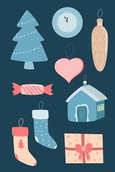 Coleção de decorações de natal