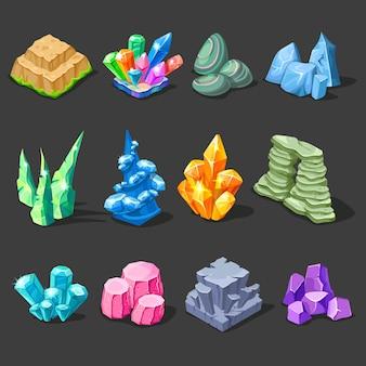 Coleção de decorações de pedras