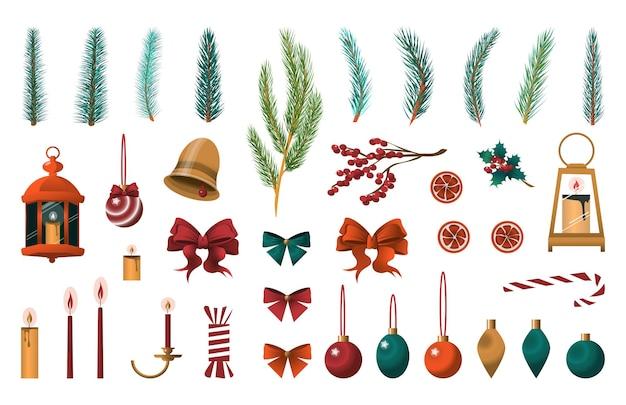 Coleção de decorações para o ano novo e natal