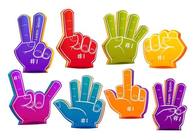 Coleção de dedos de espuma de esporte de desenho animado