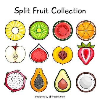 Coleção de deliciosas frutas divididas