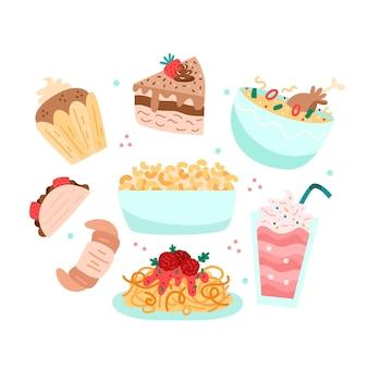 Coleção de deliciosos alimentos doces