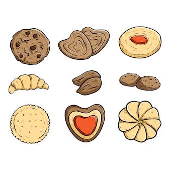 Coleção de deliciosos biscoitos com estilo colorido mão desenhada