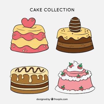 Coleção de deliciosos bolos com vidros