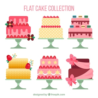 Coleção de deliciosos bolos em estilo simples