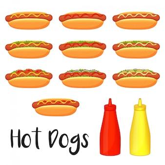 Coleção de deliciosos cachorros-quentes, mostarda e ketchup em fundo branco. estilo dos desenhos animados.