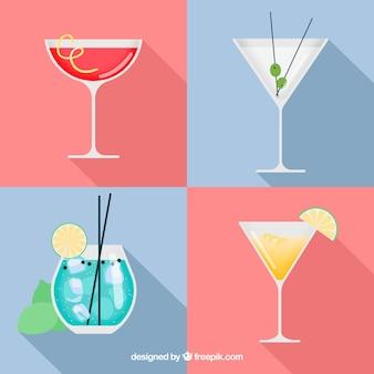 Coleção de deliciosos cocktails em estilo simples