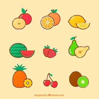 Coleção de deliciosos pedaços de frutas em design plano