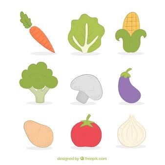 Coleção de deliciosos produtos hortícolas