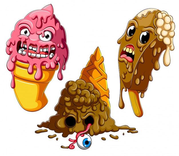 Coleção de derretimento dos desenhos animados de sorvete zumbi