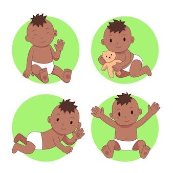 Coleção de desenho animado bebê preto