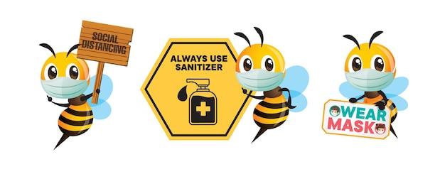 Coleção de desenho animado de abelha usando máscara e segurando uma tabuleta de conscientização pública para evitar covid.