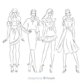 Coleção de desenho de moda desenhada de mão