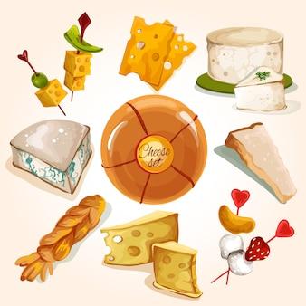Coleção de desenho de queijo
