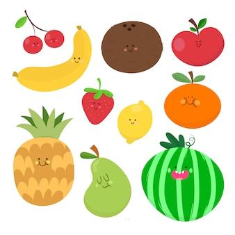 Coleção de desenho de vetor de fruta