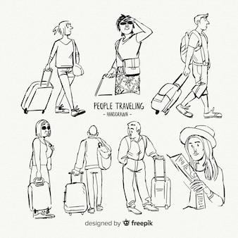 Coleção de desenho de viajante