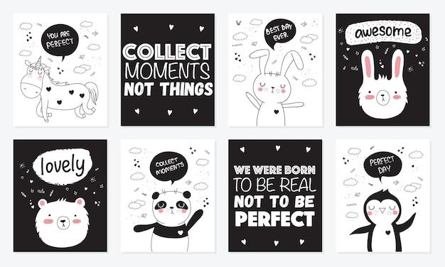 Coleção de desenho vetorial de cartões postais com animais fofos doodle com frase de letras de motivação
