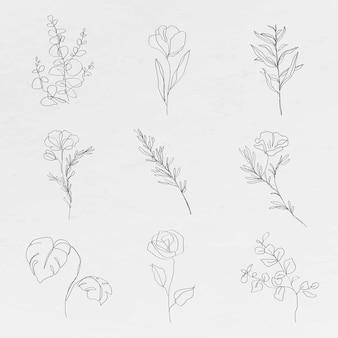 Coleção de desenhos abstratos mínimos de flores botânicas