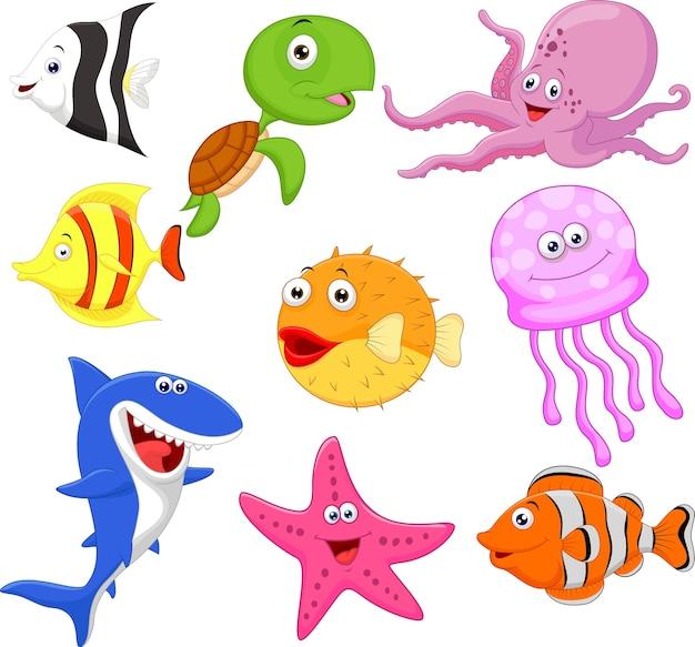 Coleção de desenhos animados bonito vida marinha
