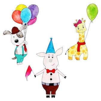 Coleção de desenhos animados bonitos de feliz aniversário aquarela