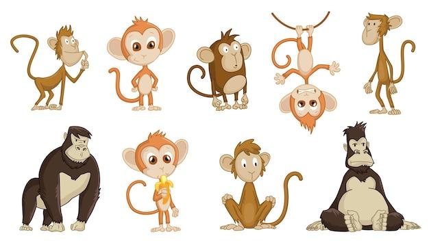 Coleção de desenhos animados coloridos de macacos engraçados fofos