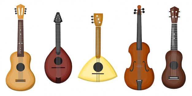 Coleção de desenhos animados com diferentes tipos de guitarras em fundo branco. conceito de música e instrumentos musicais.